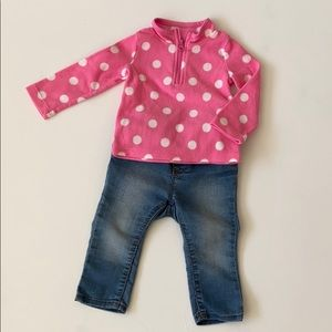 Girl's Light fleece top and Jean